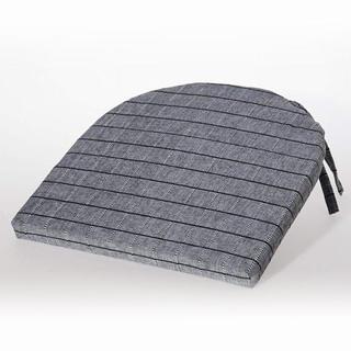 Pernă semirotundă pentru scaune Indie cu grila gri cu negru 37 x 37 cm