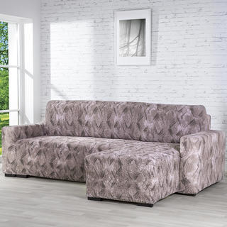 Huse bielastice ASTRATO maro canapea cu otoman dreapta (l. 170 - 200 cm)