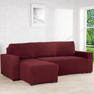 Huse cu două elastice ROMA bordo, canapea cu otoman stânga (l. 170 - 200 cm)