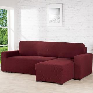 Huse cu două elastice ROMA bordo, canapea cu otoman dreapta (l. 170 - 200 cm)