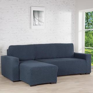 Huse cu două elastice ROMA albastru canapea cu otoman stânga (l. 170 - 200 cm)