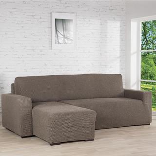 Huse cu două elastice ROMA maro canapea cu otoman stânga (l. 170 - 200 cm)