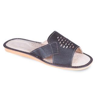 Papuci de casă bărbăteşti din piele maro