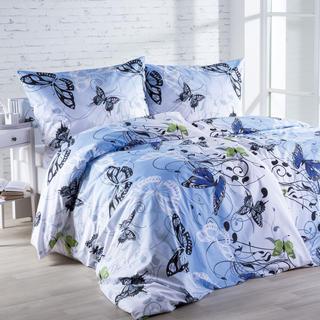 Lenjerie de pat din bumbac Butterfly albastru