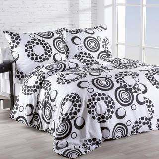 Lenjerie de pat crep Cercuri alb-negru