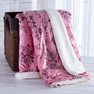 Pătură cu blăniţă şi model imprimat roz prăfuit 140 x 200 cm