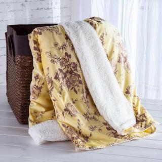 Pătură cu blăniţă şi model imprimat crem 140 x 200 cm