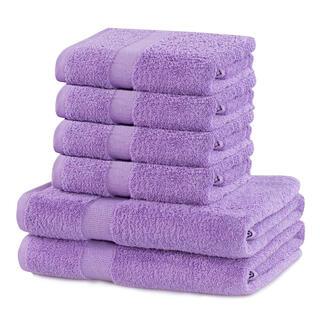 Prosoape de mâini și de baie din bumbac frotir MARINA culoare mov, set 6 buc
