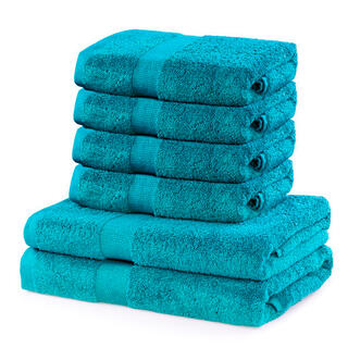 Prosoape de mâini şi de baie din bumbac frotir MARINA culoare turcoaz, set 6 buc