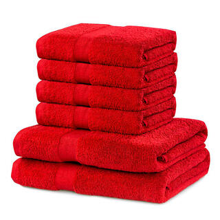 Prosoape de mâini și de baie din bumbac frotir MARINA culoare roșie, set 6 buc