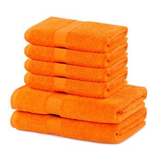 Prosoape de mâini și de baie din bumbac frotir MARINA culoare portocalie, set 6 buc