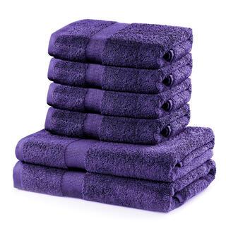 Prosoape de mâini și de baie din bumbac frotir MARINA culoare violet, set 6 buc