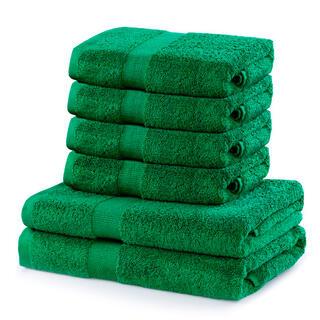 Prosoape de mâini și de baie din bumbac frotir MARINA culoare verde, set 6 buc