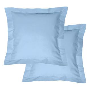 Fețe de pernuțe din bumbac cu margini decorative, albastru deschis, 2 buc