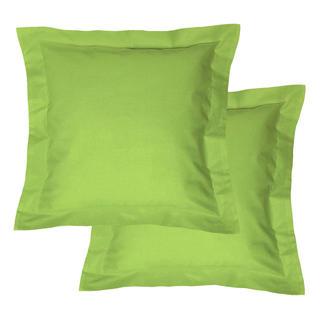 Fețe de pernuțe din bumbac cu margini decorative, verde, 2 buc