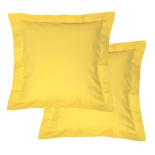 Fețe de pernuțe din bumbac cu margini decorative, galben, 2 buc