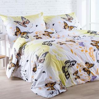 Lenjerie de pat din bumbac Butterfly galben