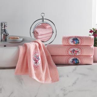 Set prosoape frotir roz-somon cu broderie 4 buc