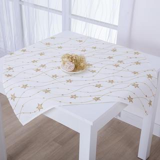 Şervet de Crăciun de masă crem cu broderie STELE 85 x 85 cm