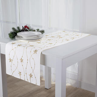 Napron de Crăciun, alb stea aurie brodată, 40 x 160 cm