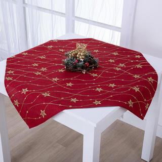Şervet de Crăciun de masă crem cu broderie aurie STELE 85 x 85 cm