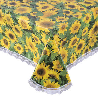 Faţă de masă vinil lavabilă FLOAREA-SOARELUI cu dantelă 140 x 180 cm