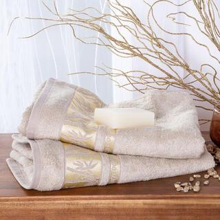 Set de prosoape din bambus cu bordură aurie culoarea ALUNEI 2 buc 50 x 100 cm