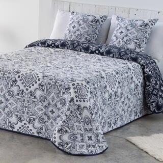 Cuvertură pentru pat INES albastru-alb