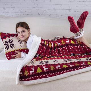 Set blăniţă de miel WINTER cu ciorapi 3 buc