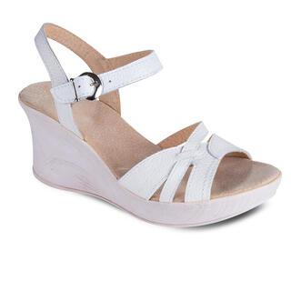 Sandale damă cu toc, albe