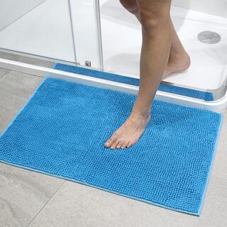 Covoraş de baie cu smocuri albastru