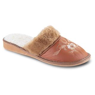 Papuci de damă cu broderie - caramel