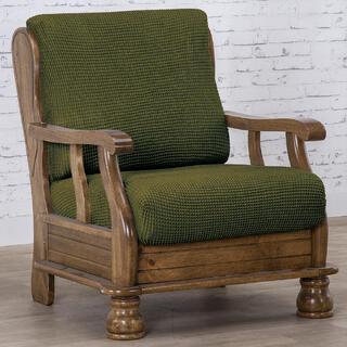Huse care se întind foarte bine NIAGARA verzi fotoliu cu manere de lemn (l. 50 - 80 cm)