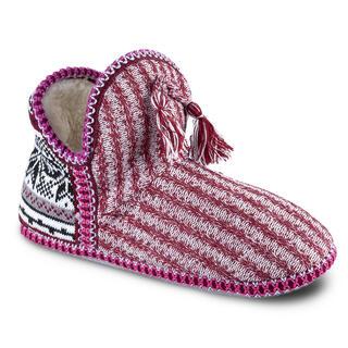 Papuci tricotaţi cu blană de miel călduroasă