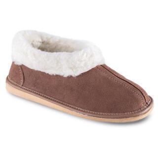 Papuci de casă cu blăniţă de miel maro