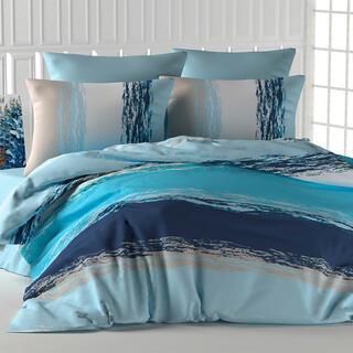 Lenjerie de pat din bumbac THICK LINE albastru