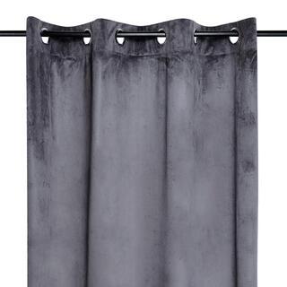 Draperie decorativă din velur DANAE gri închis 140 x 260 cm