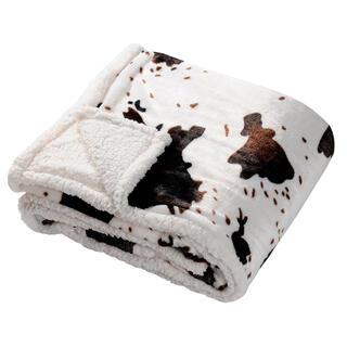 Pătură cu blană de miel cu motiv de piele de vacă 130 x 150 cm