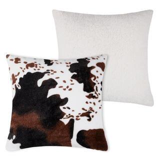 Pernuţă decorativă cu blăniţă de miel în decor piele de vacă 40 x 40 cm