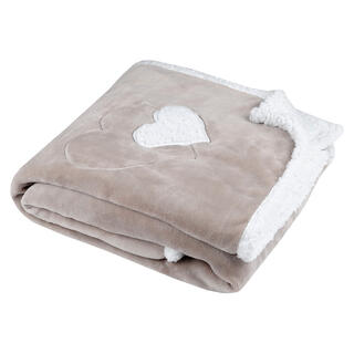 Pătură blăniţă de miel COCOON inimă bej 130 x 160 cm