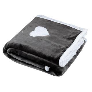 Pătură blăniţă de miel COCOON inimă antracit 130 x 160 cm