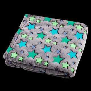 Pătură luminoasă din microfibră FILANTE-LICORNE stele 130 x 160 cm