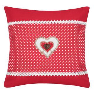 Pernuţă decorativă LYNA cu inimioară şi buline, roşie, 40 x 40 cm