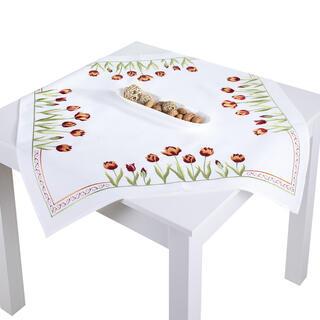 Faţă de masă cu broderie LALELE 85 x 85 cm