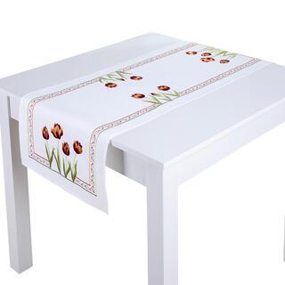 Napron de masă cu broderie LALELE 40 x 110 cm