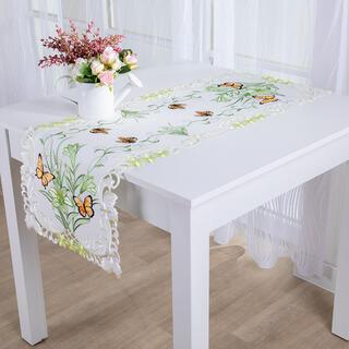 Napron de masă cu broderie FLUTURI 40 x 110 cm