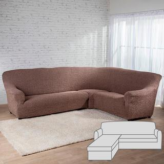 Huse bielastice MEDITERRANEO maro canapea cu otoman stânga (l. 170 - 200 cm)