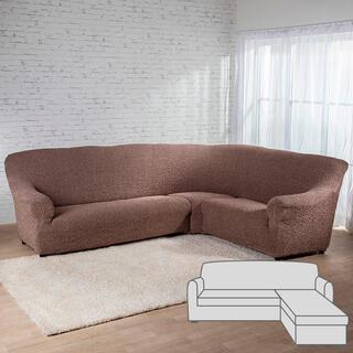 Huse bielastice MEDITERRANEO maro canapea cu otoman dreapta (l. 170 - 200 cm)