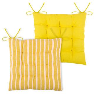Pernă pentru scaun STE MAXIME galben, set 4 buc