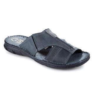Papuci bărbăteşti din piele, gri închis